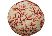 Coral Needlepoint Pillow (Red Round)