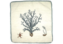 Blue Seaweed Needlepoint Pillow