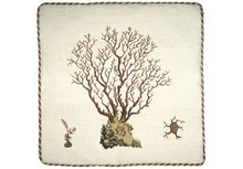Brown Marestail Seaweed Needlepoint Pillow