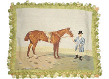Horse and Rider in Blue Needlepoint Pillow