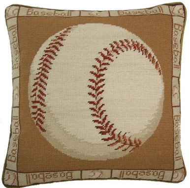 Baseball Needlepoint Pillow