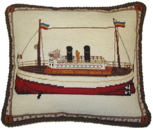 Boat Needlepoint Pillow