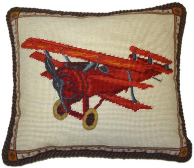 Plane Needlepoint Pillow