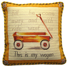 Wagon Needlepoint Pillow