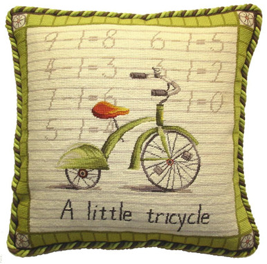 Tricycle Needlepoint Pillow
