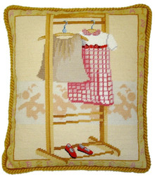 Pink Dress Needlepoint Pillow