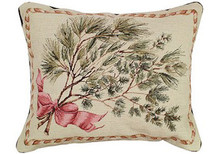 Christmas Greenery Needlepoint Pillow