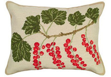 Red Currants Needlepoint Pillow
