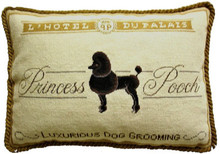 "Poodle ""Luxurious Dog Grooming"" Needlepoint Pillow"