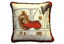 Poodle in Red Coat Needlepoint Pillow