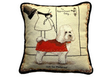 Bichon in Red Coat Needlepoint Pillow
