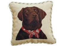Chocolate Lab in Bandana Needlepoint Pillow
