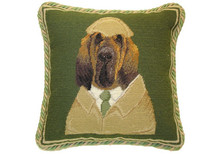 Bloodhound Dressed Needlepoint Pillow