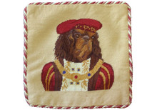 Cavalier King Charles Spaniel Dressed Needlepoint Pillow 2