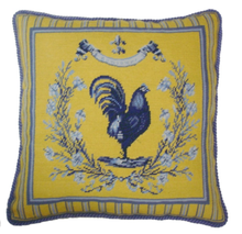 French Country Rooster Needlepoint Pillow Rooster