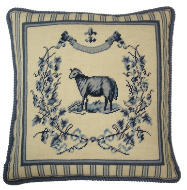 French Country Sheep Needlepoint Pillow Blue