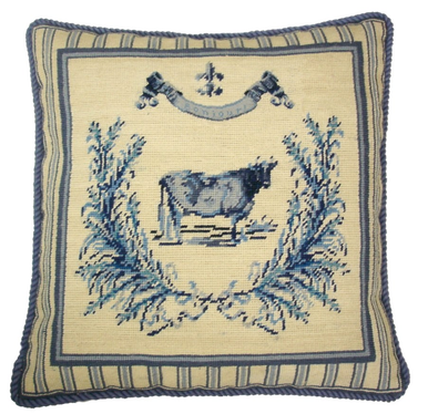 French Country Cow Needlepoint Pillow Blue