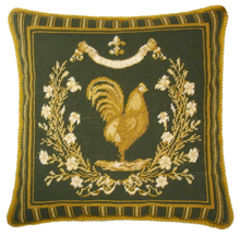 French Country Rooster Needlepoint Pillow Green