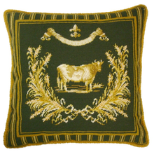French Country Cow Needlepoint Pillow Green