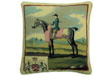 Rider in Blue Needlepoint Pillow