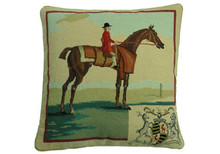 Rider in Red Needlepoint Pillow