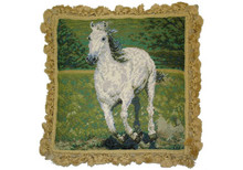 White Horse Needlepoint Pillow