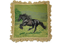 Black Horse Needlepoint Pillow