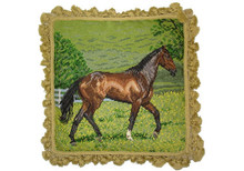 Brown Horse Needlepoint Pillow