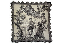 Toile Needlepoint Pillow (Black Man)