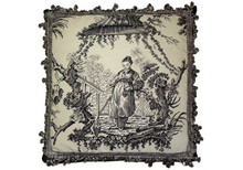 Toile Needlepoint Pillow (Black Woman)