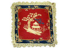 Pagoda and Plum Tree Needlepoint Pillow