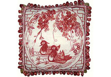 Mandarin Ducks Needlepoint Pillow (Red) 2