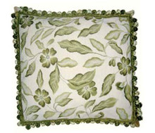 Leaves Needlepoint Pillow (Green)