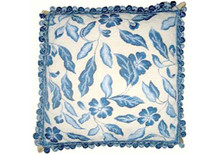 Leaves Needlepoint Pillow (Blue)