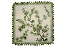 Plum Blossom Needlepoint Pillow (Green)