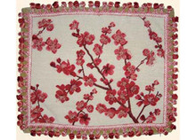 Plum Blossom Needlepoint Pillow (Red)