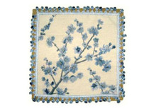 Plum Blossom Needlepoint Pillow (Blue)
