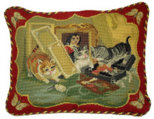 Cat Needlepoint Pillow