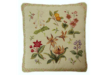 Fruits and Flowers Needlepoint Pillow