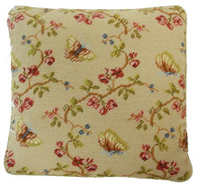 Butterfly and Plum Blossom Needlepoint Pillow