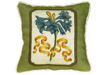 Blue Iris Needlepoint Pillow