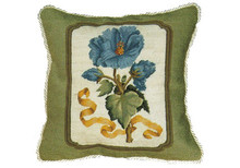 Blue Peony Needlepoint Pillow