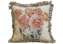 Roses in Ming Jar Needlepoint Pillow