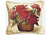 Peony Basket Needlepoint Pillow
