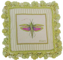 Grasshopper Needlepoint Pillow II