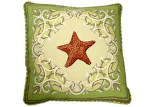 Starfish Needlepoint Pillow on Green Border