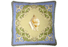 Shell Needlepoint Pillow on Blue Border 2