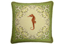 Seahorse Needlepoint Pillow on Green Border