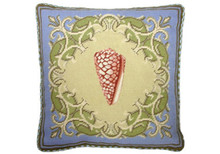 Shell Needlepoint Pillow on Blue Border 1