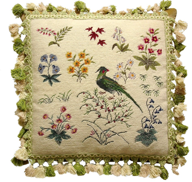 Bird and Flowers Needlepoint Pillow 2